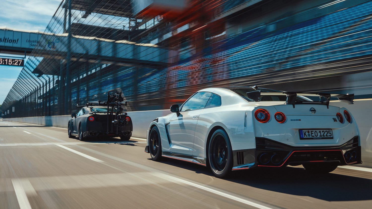 nissan gtr camera car and shot car rear three-quarter