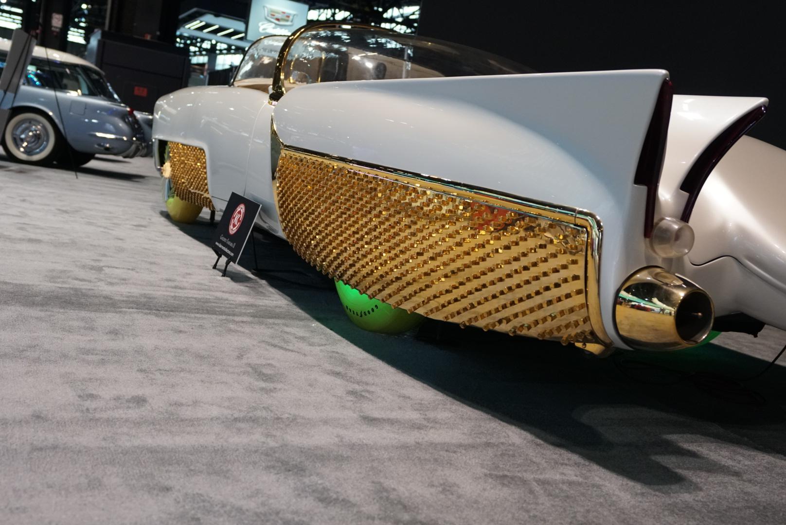 custom car gold rear three-quarter