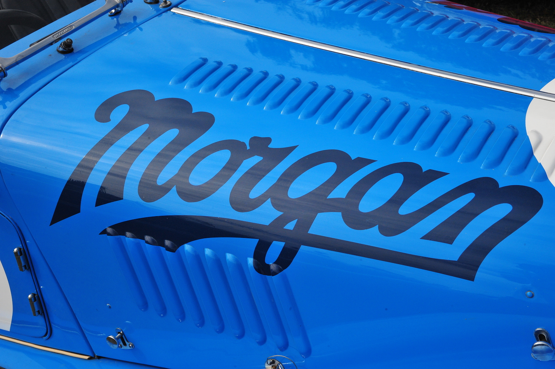 morgan script on blue hood