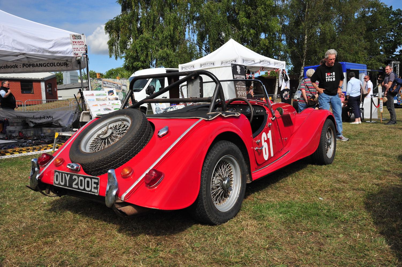 red morgan plus eight car rear three-quarter