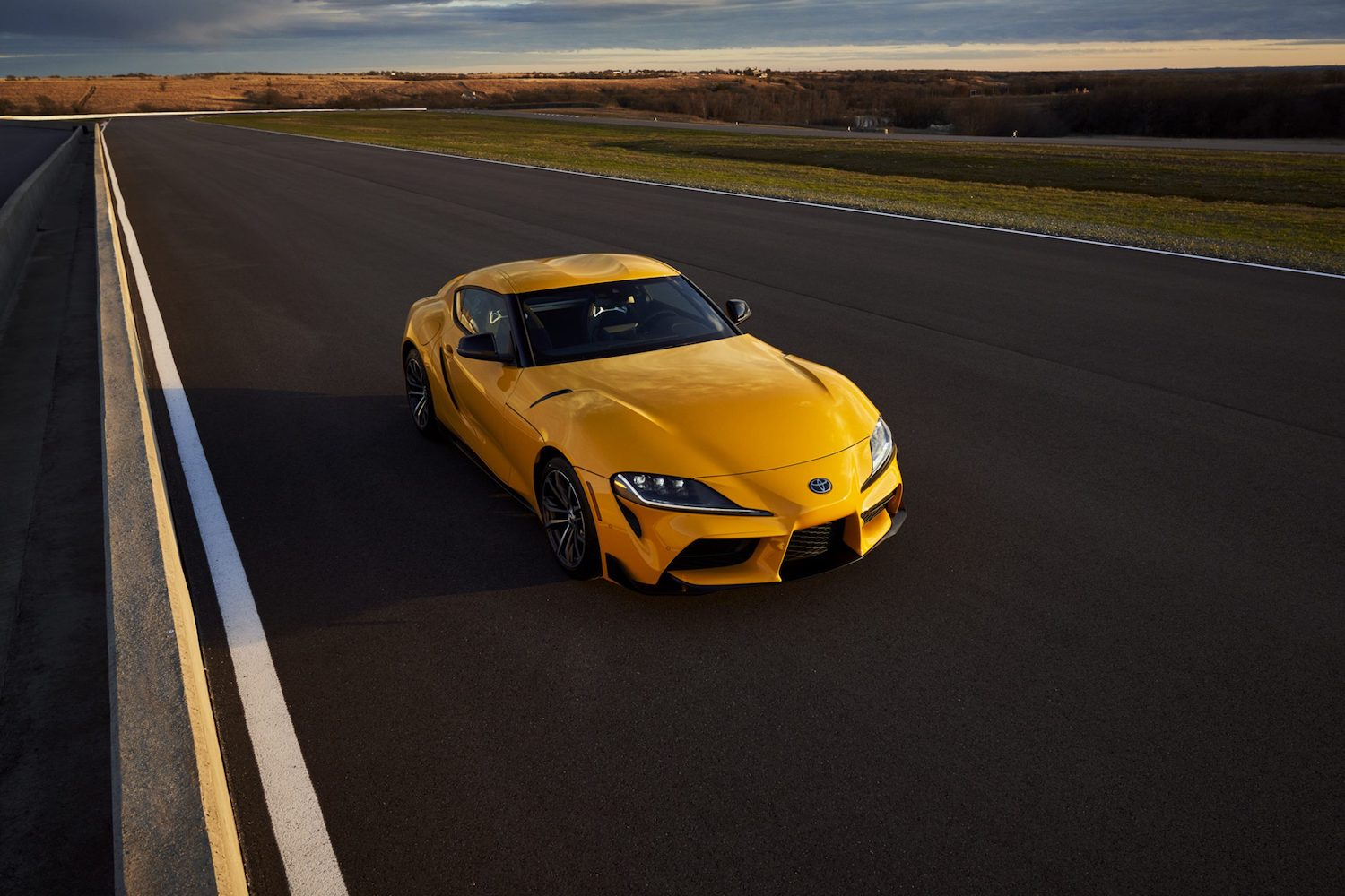 GR Supra 2.0 elevated front three-quarter on track