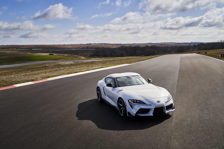 GR Supra 3.0 Premium elevated front three-quarter on track