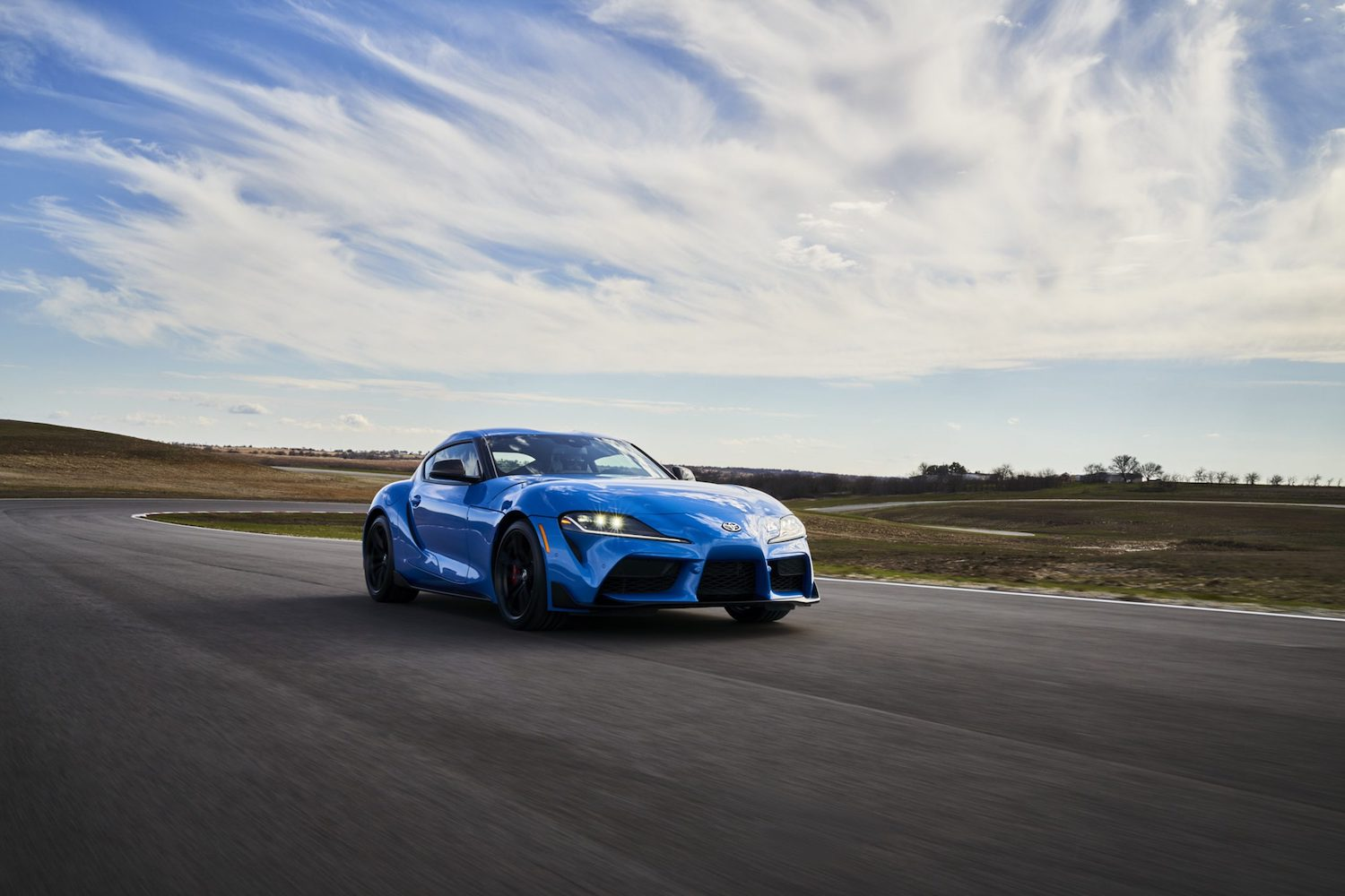 GR Supra A91 Edition front three-quarter on track action