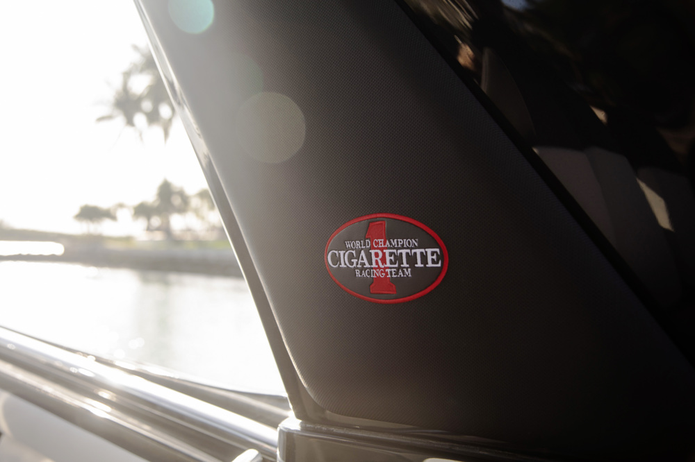 amg cigarette race boat badge closeup