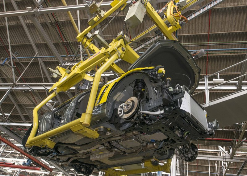 sedan underside on assembly lift