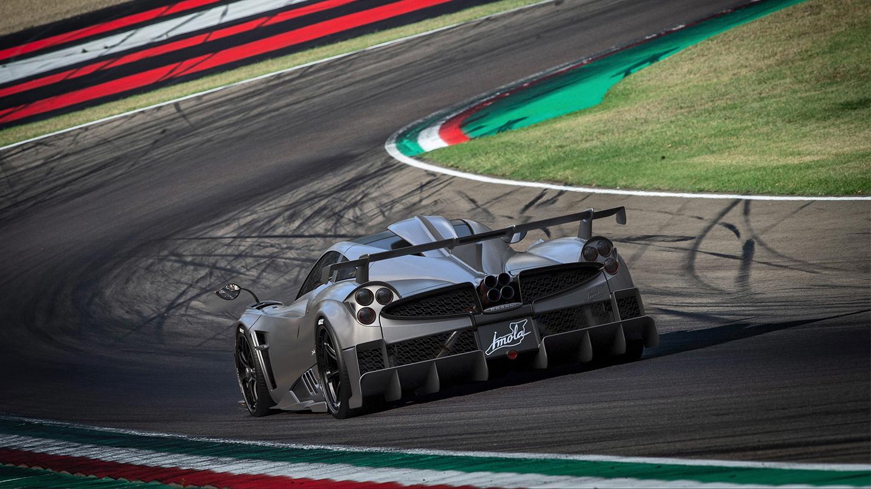 Pagani Imola rear three-quarter on track action