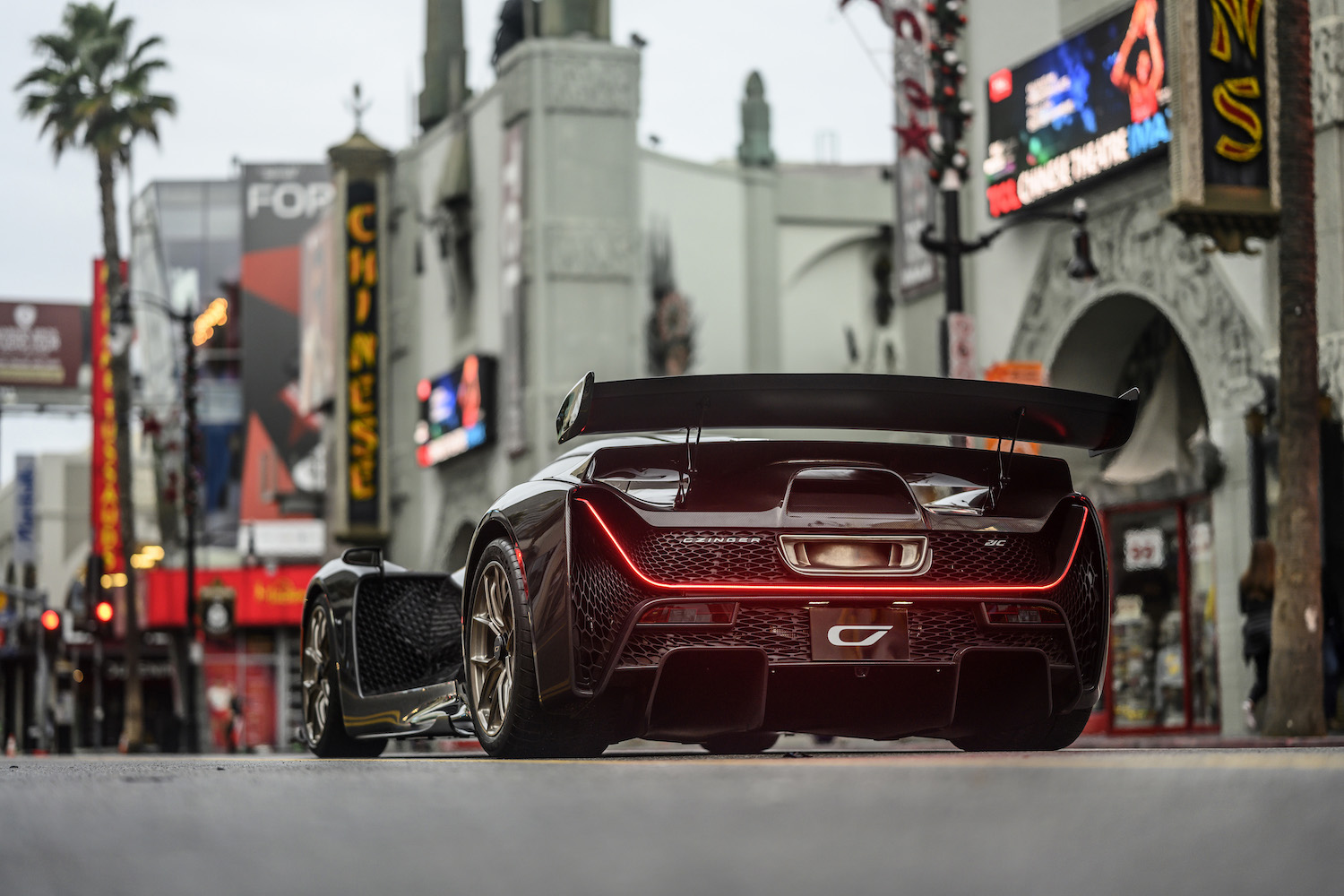 Czinger 21C 3D print hybrid supercar rear three-quarter in hollywood