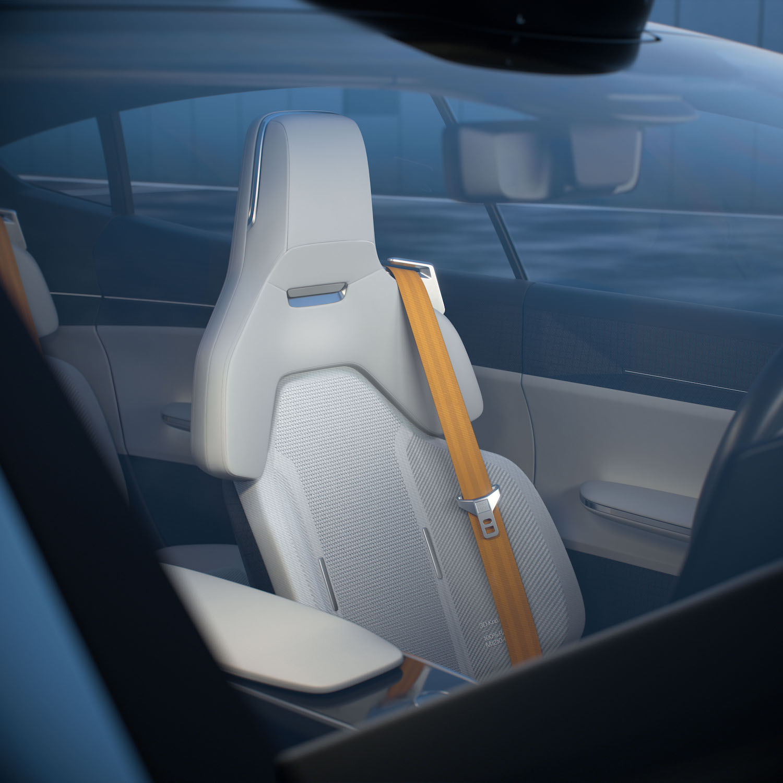 polestar precept sedan interior front seat through glass
