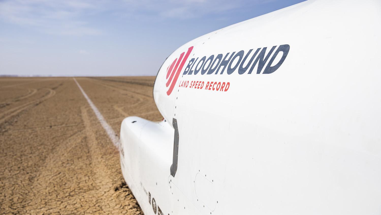 bloodhound lsr rocket car on track side linear perspective