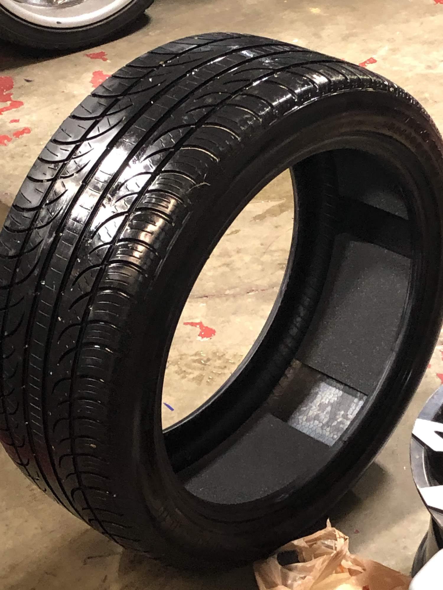 foam blocks in tires closeup