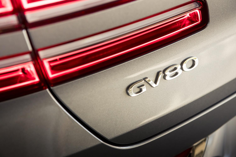 Genesis gv80 suv rear badge closeup