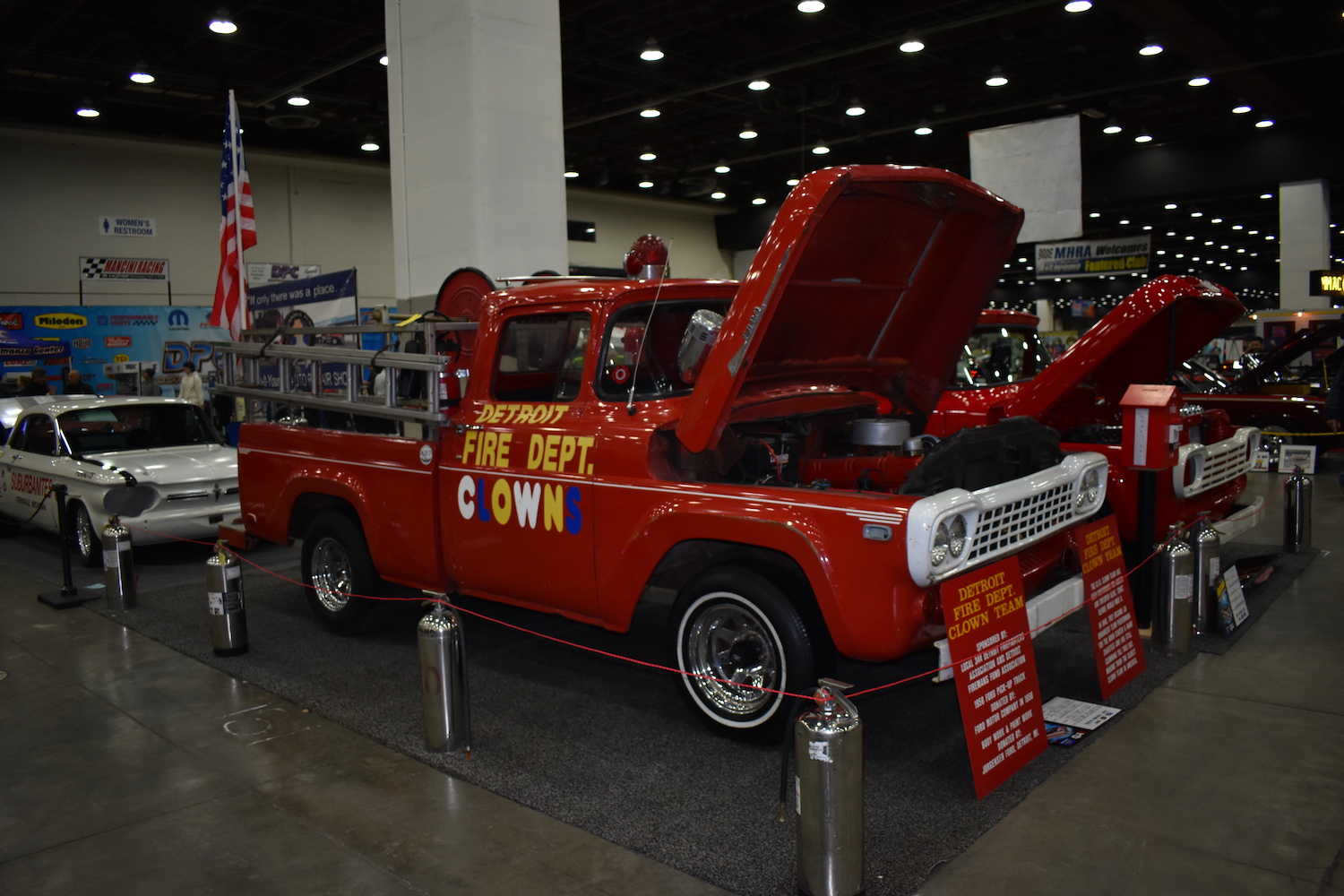 red fire dept pickup front three-quarter