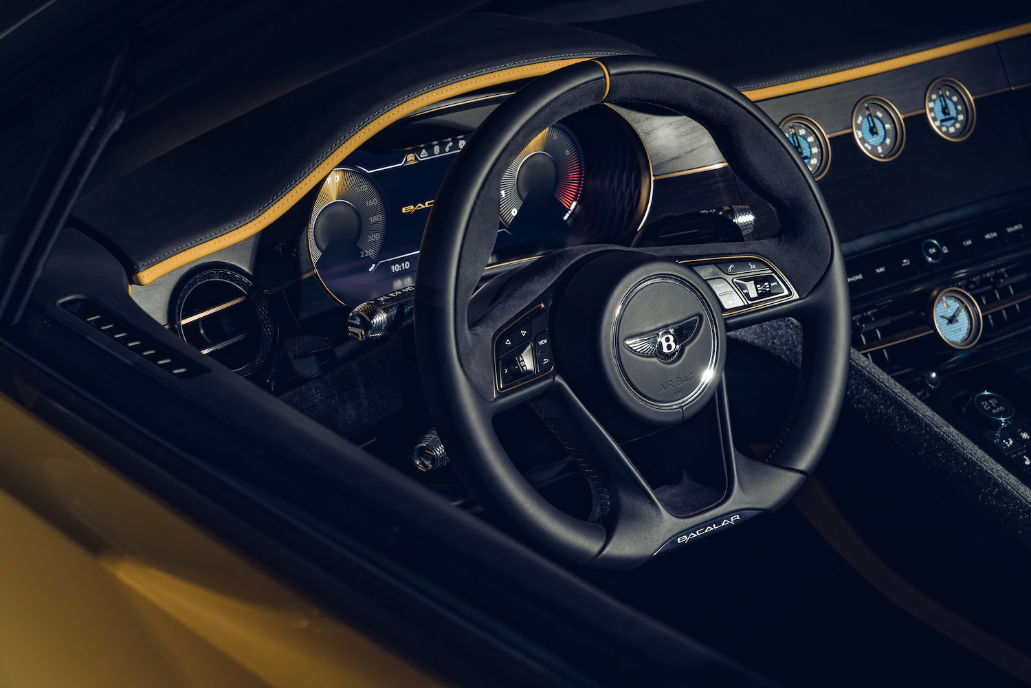 2020 mulliner bacalar barchetta steering wheel closeup