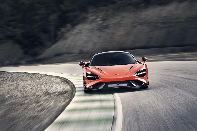 McLaren 765LT supercar front on track action