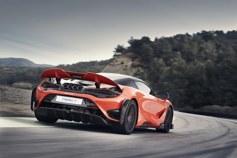 McLaren 765LT supercar rear three-quarter