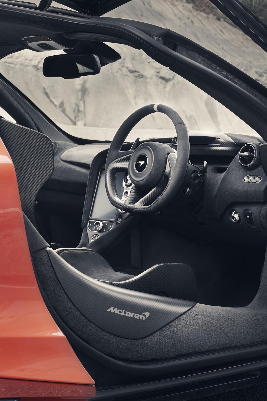 McLaren 765LT supercar side-view action