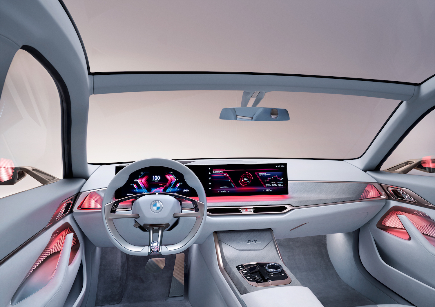 2021 BMW Concept i4 front dash red lighting
