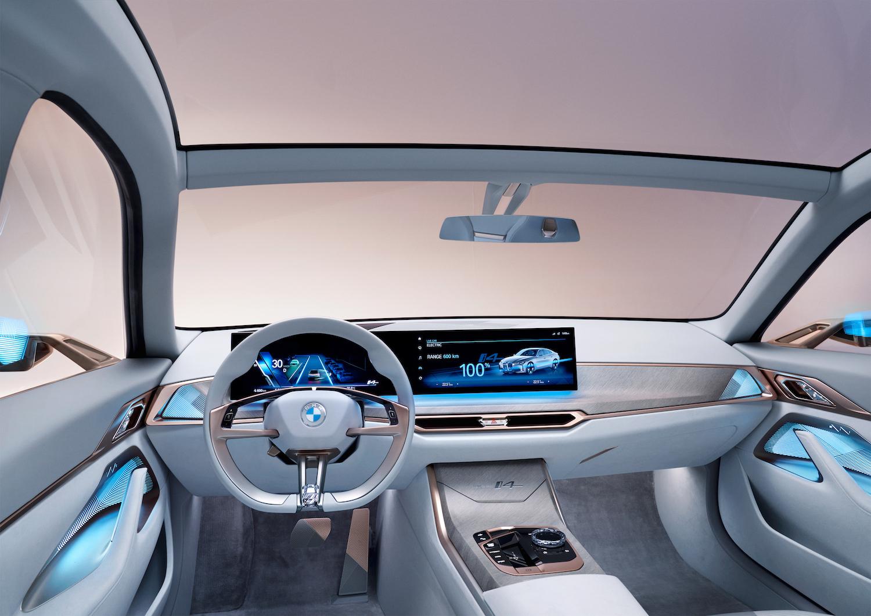 2021 BMW Concept i4 interior front dash blue lighting