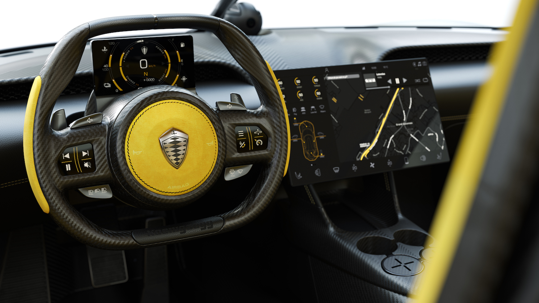 Koenigsegg gemera interior wheel closeup