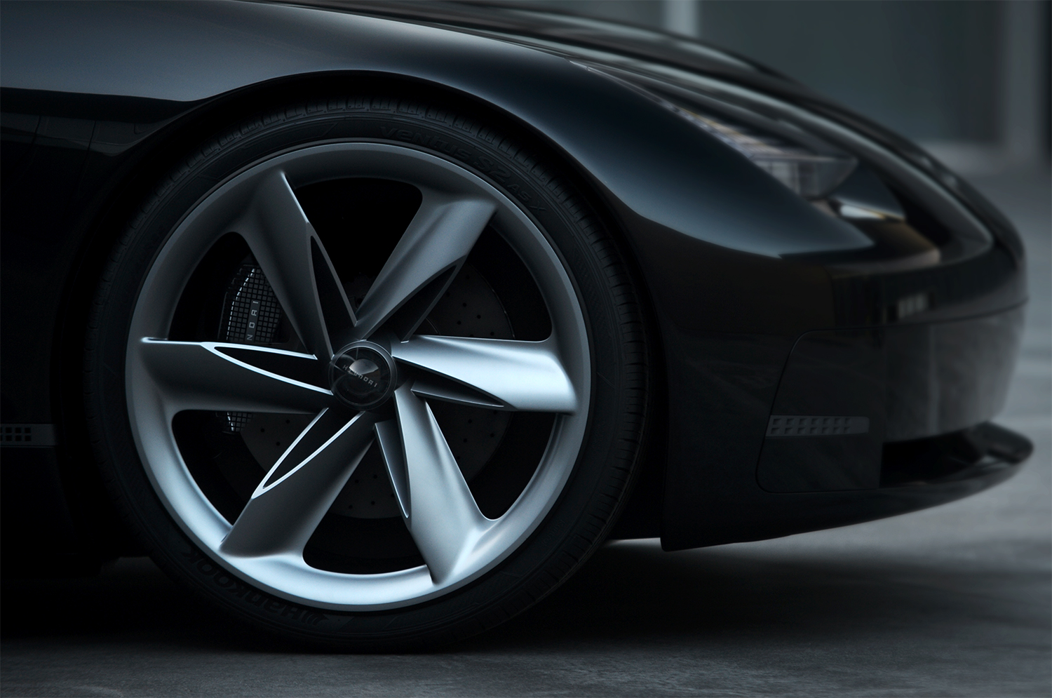 Hyundai Prophecy Concept EV front wheel closeup