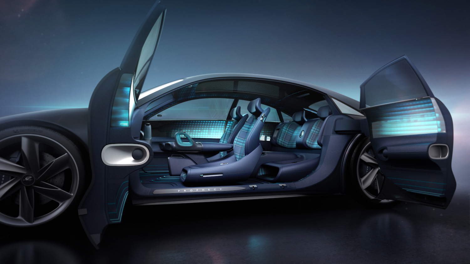 Hyundai Prophecy Concept EV side-view open door interior