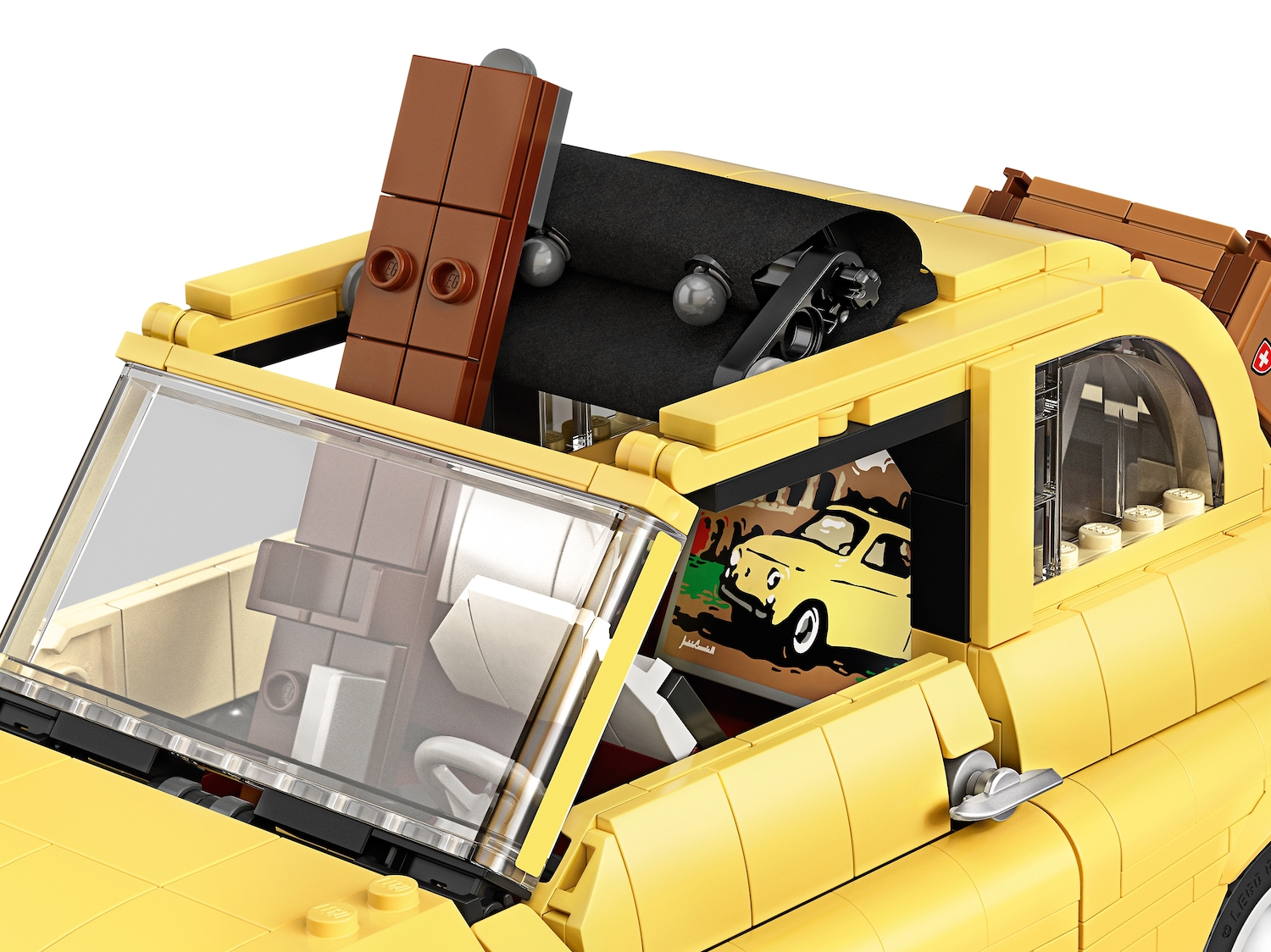 lego fiat 500 toy car roof detail