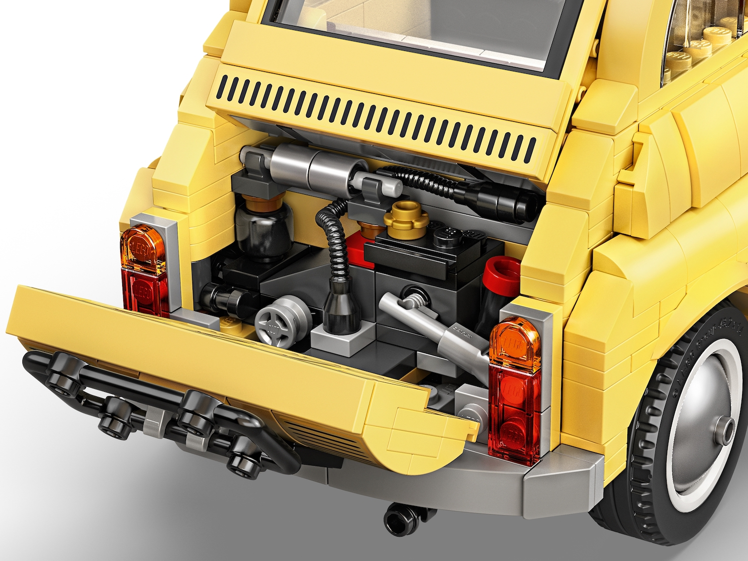 lego fiat 500 toy car rear engine hatch