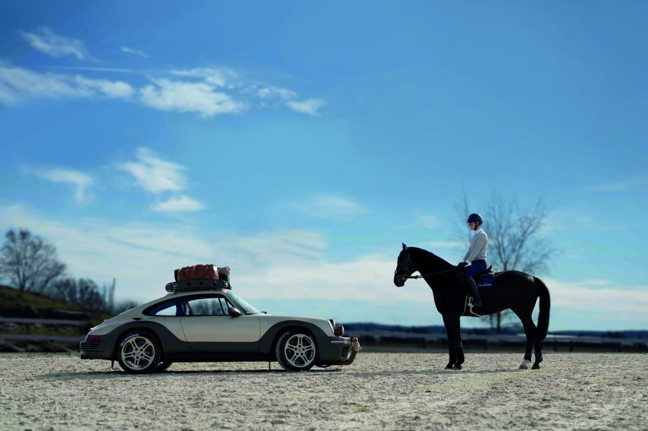 porsche 911 off-road and horse with rider face to face