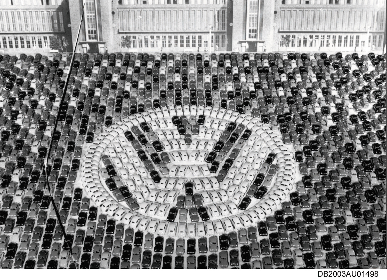 volkswagen logo made of vw beetles