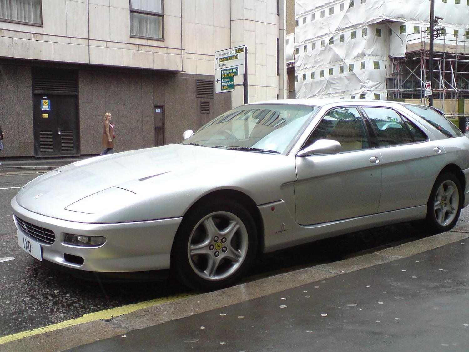 silver ferrari 456 front three-quarter