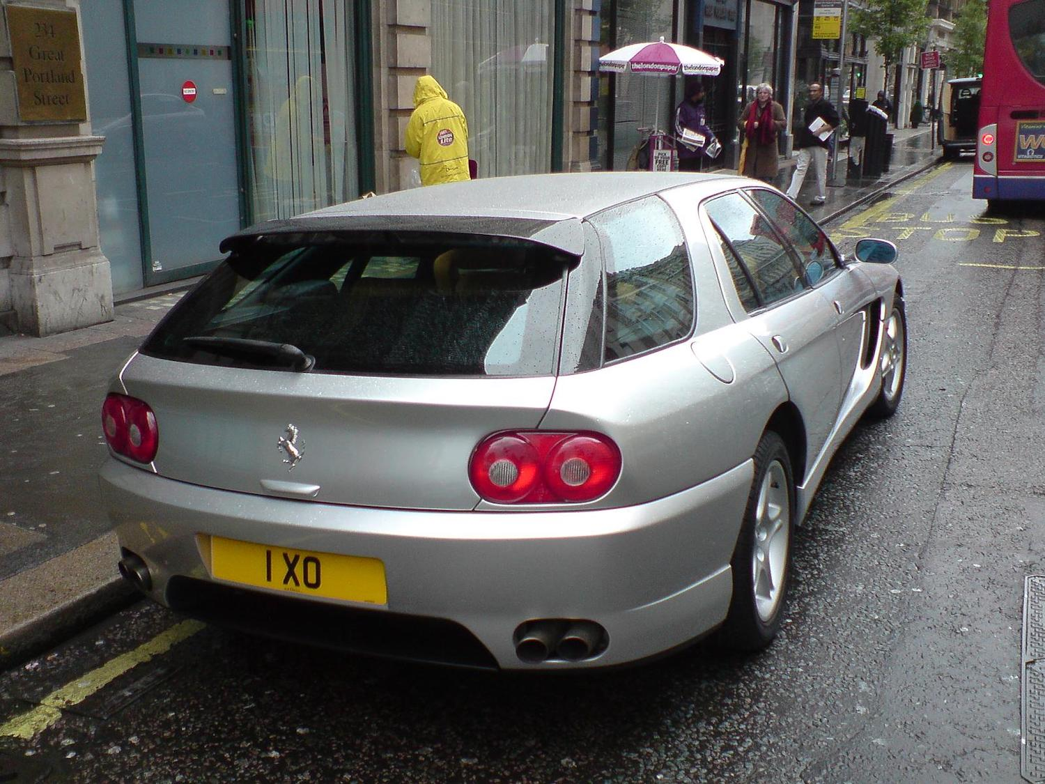 silver ferrari 456 rear three-quarter