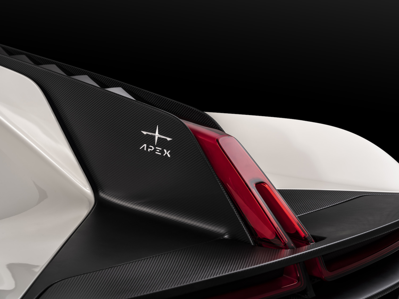 Apex ev supercar rear fin and taillight