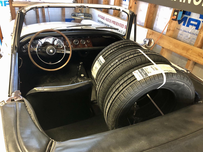 new tires inside of sunbeam tiger