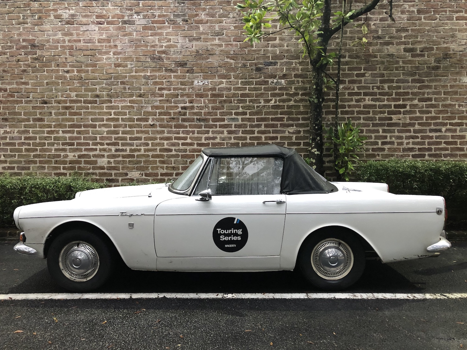 white sunbeam tiger side-view touring series car