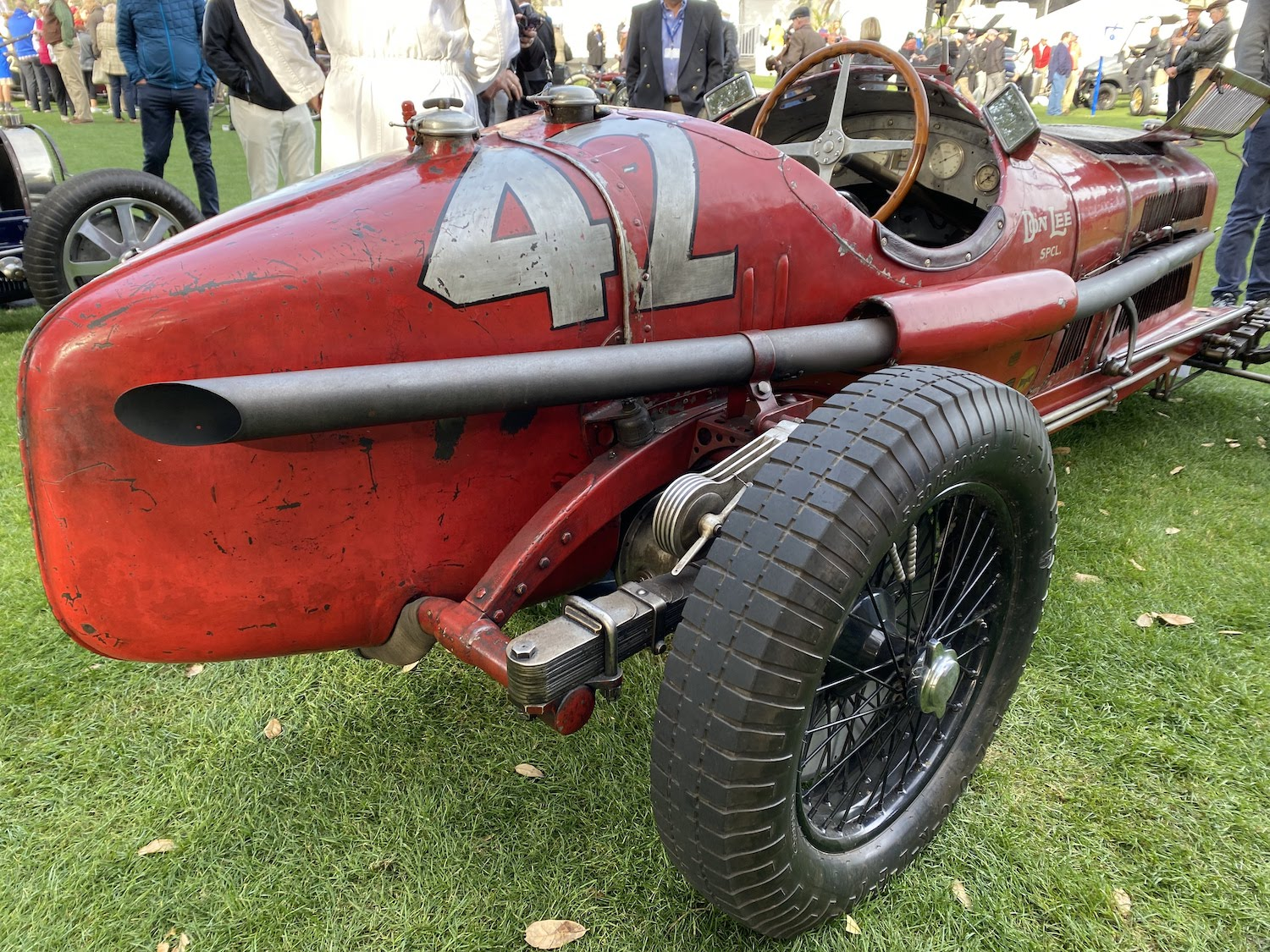 alfa romeo vintage race car rear three-quarter closeup