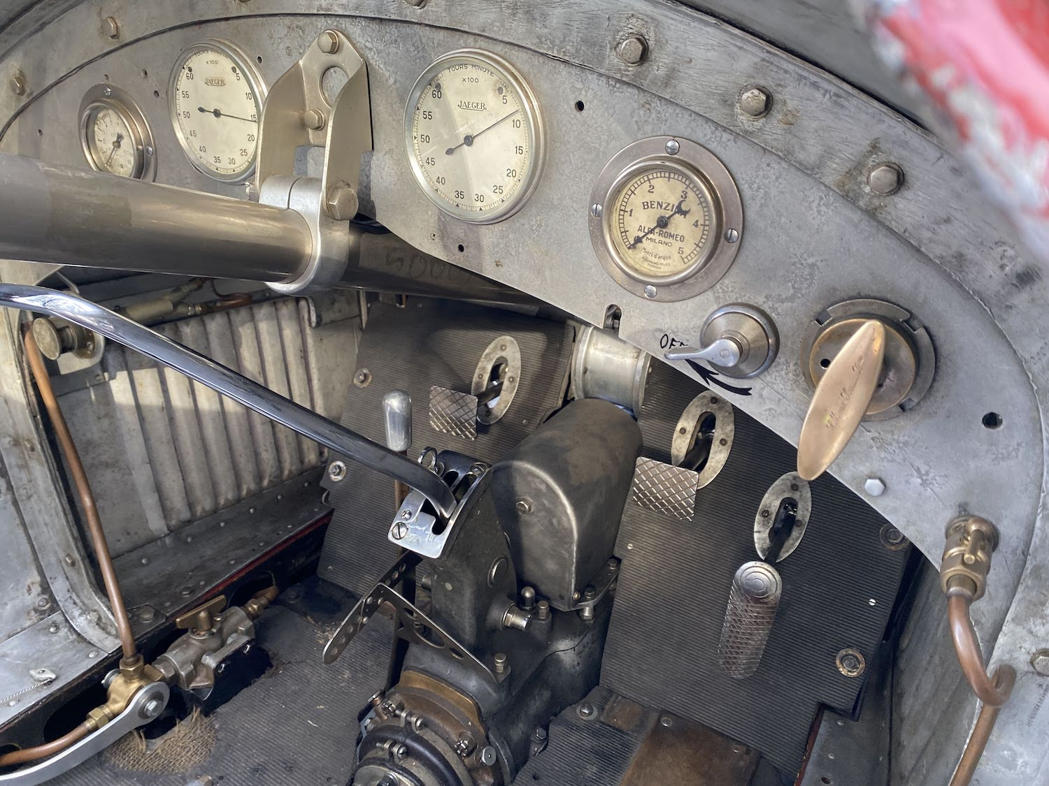 alfa romeo vintage race car interior cockpit dash gauges