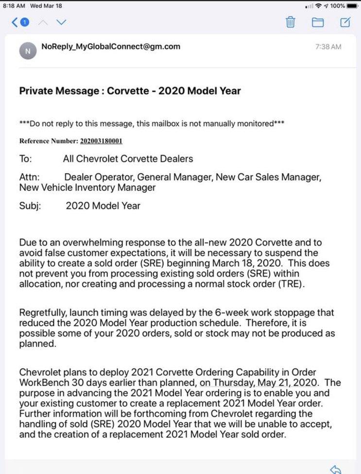 corvette c8 order market demand private message