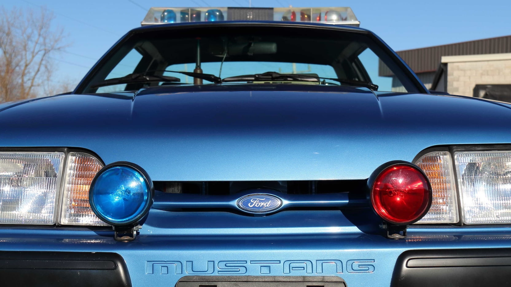 1989 Ford Mustang ssp police car front closeup