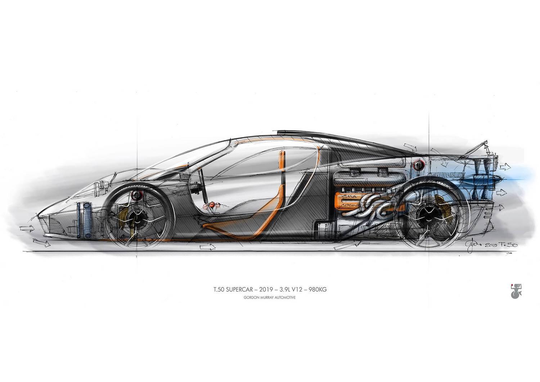 gordon murray design t50 supercar drawing