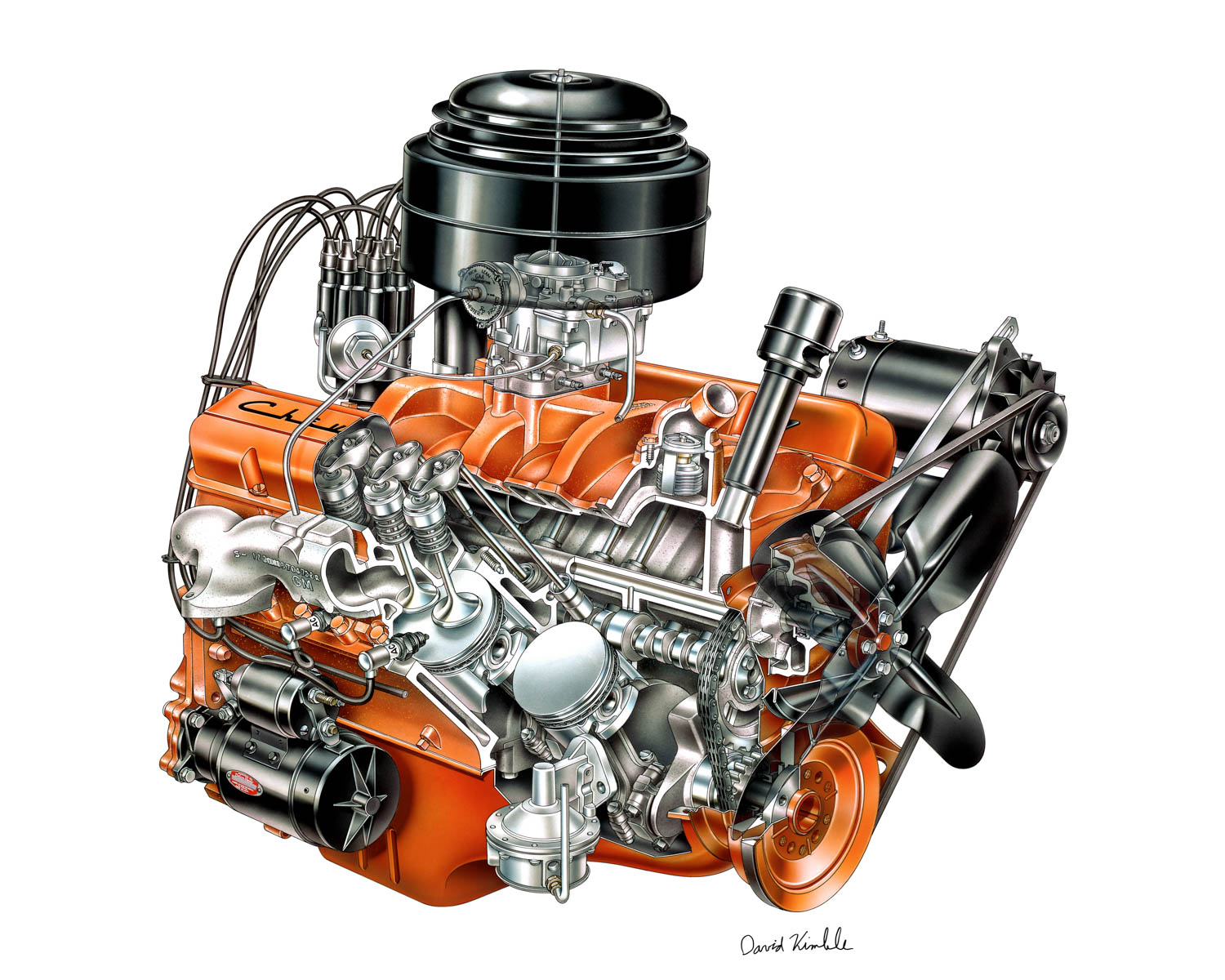 The first Chevy small-block V-8 debuted in 1955 and produced 162 horsepower. Its unique combination of simplicity, compactness, and high power potential have made it one of the most beloved engines ever built.