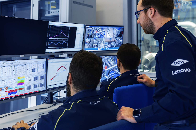 aston martin v6 engineers monitor data
