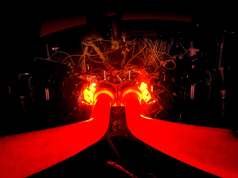 aston martin v6 engine red hot glow