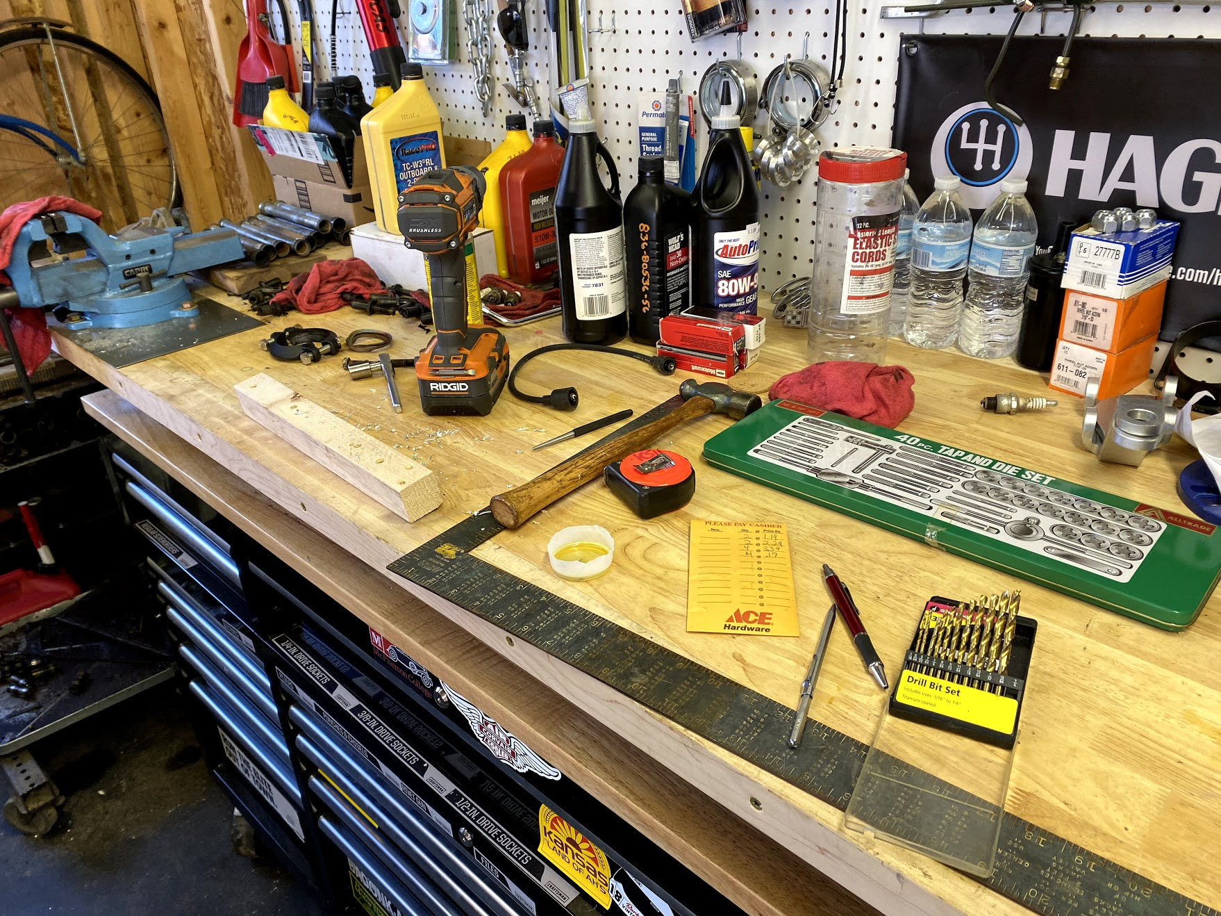 garage work table and tools