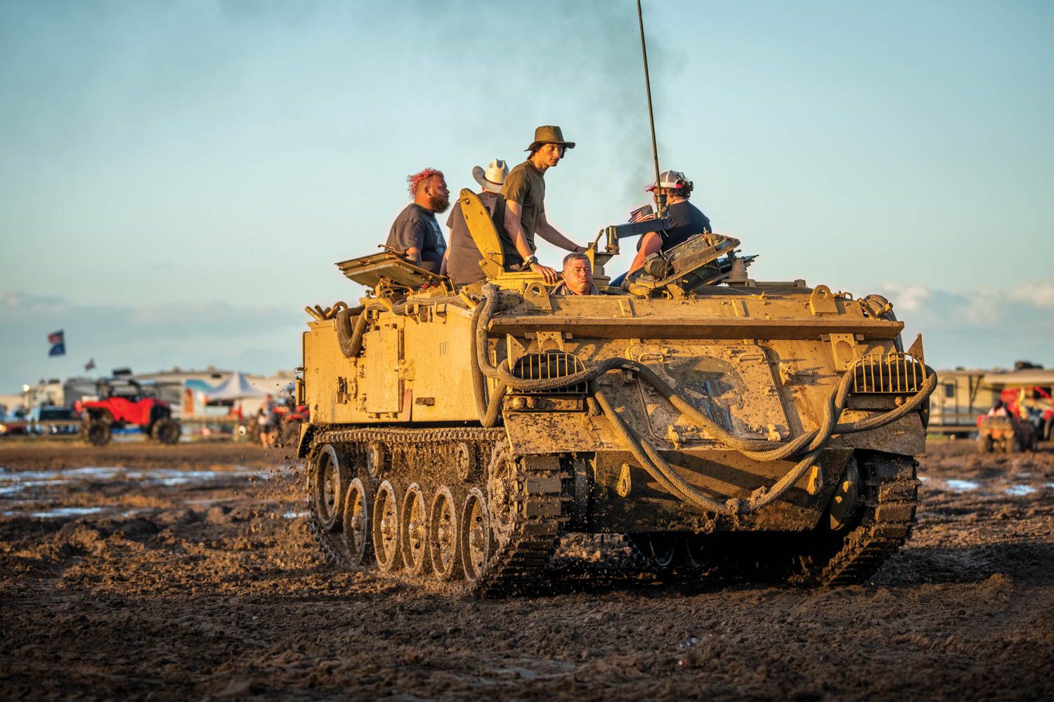 More unusual, the 'Nam-era armored personnel carrier is just as effective as a party wagon.