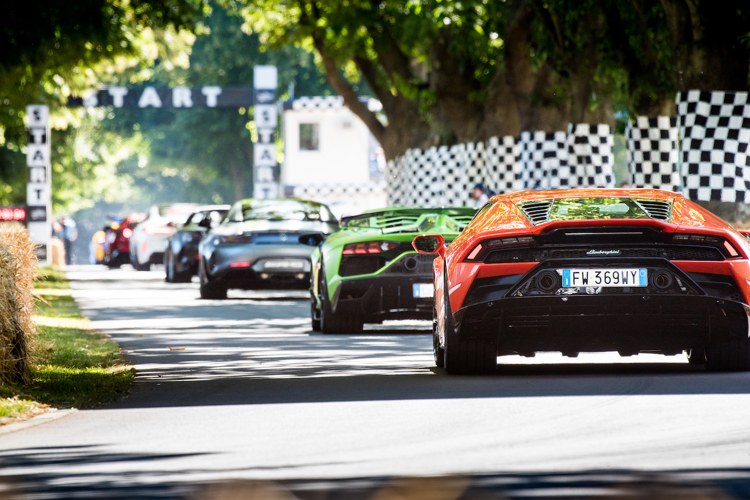 rear view line of supercars on track and goodwood festival of speed