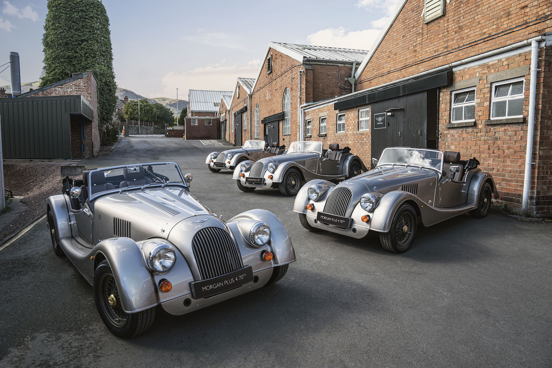 morgan motor cars in row front three-quarter