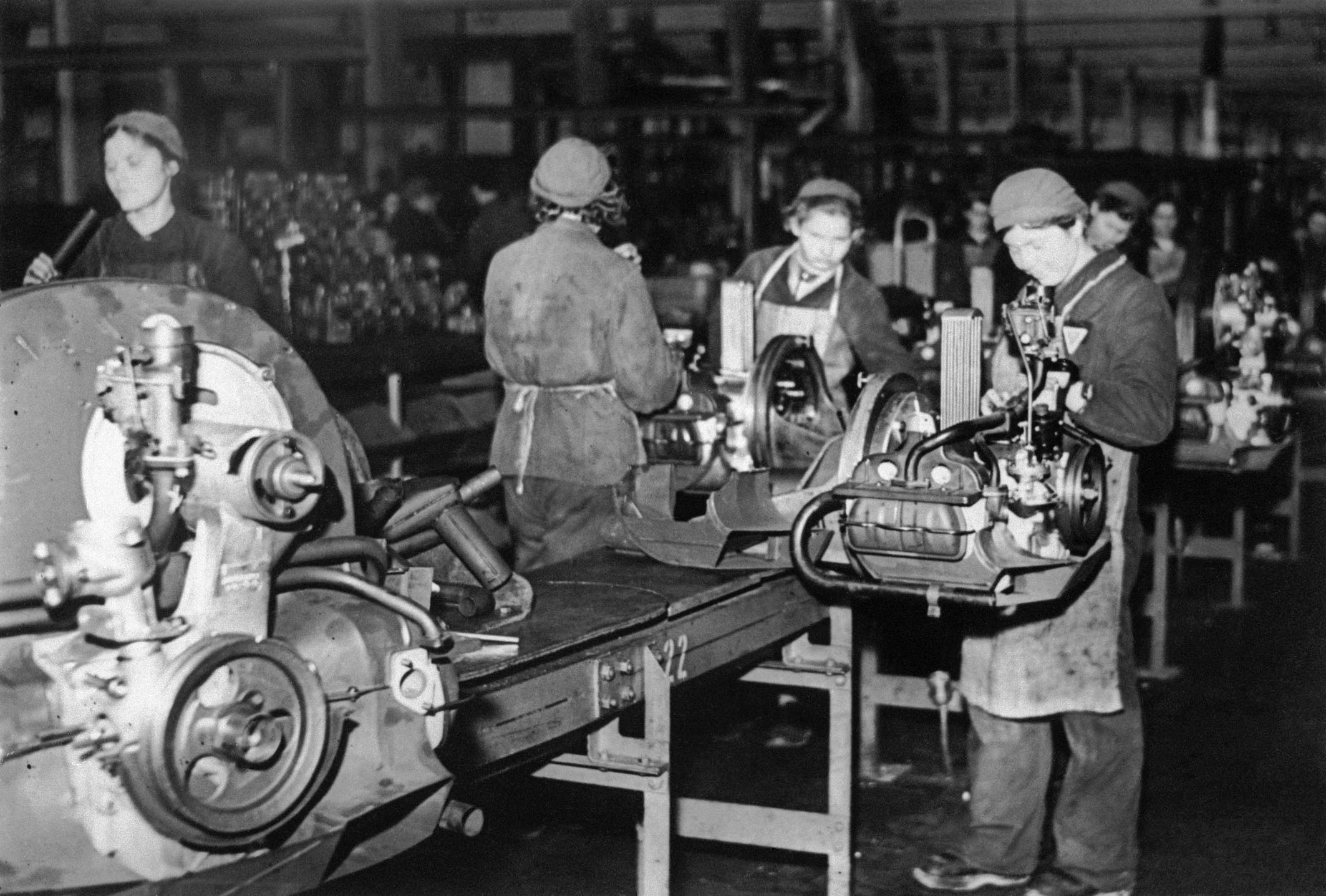 Forced laborer at the engine assembly during World War II.