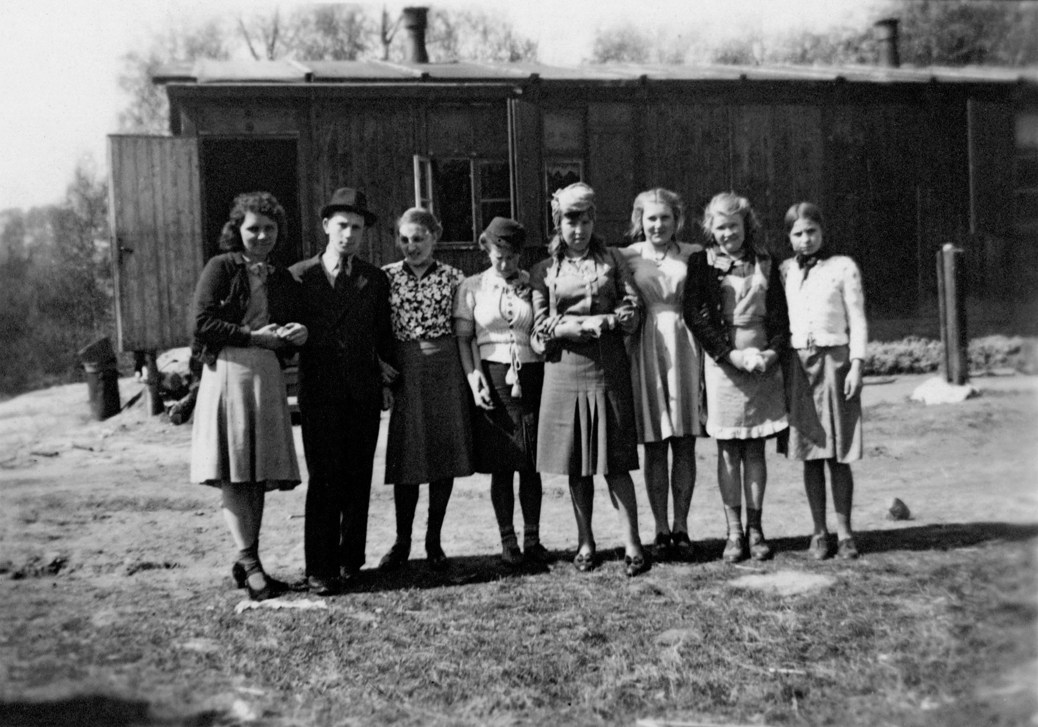 A group of liberated forced laborers at Neindorf satellite plant, about 10 kilometers south of Wolfsburg.