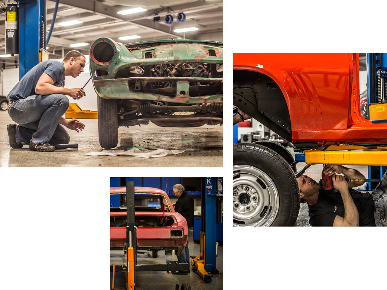 Vehicles being restored by men within a collector vehicle storage location.