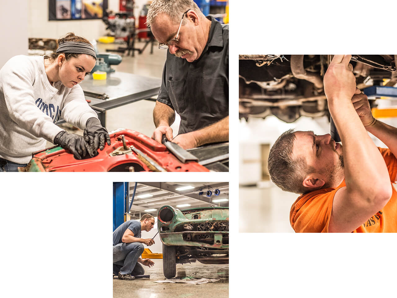 A group of men and women collectively work on restoring a collector vehicle.